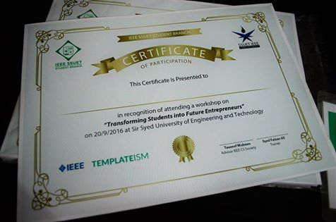 Certificates of Wokshop